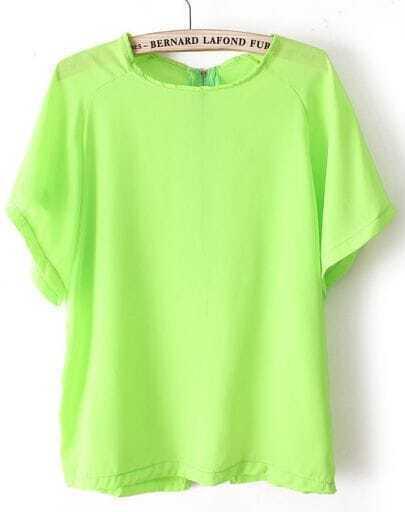 Green Batwing Short Sleeve Back Zipper Chiffon T-Shirt