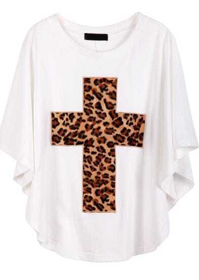 White Batwing Sleeve Leopard Cross Print T-Shirt
