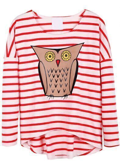 Red White Striped Long Sleeve Owl Print T-Shirt
