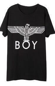 Black Short Sleeve BOY Eagle Print T-Shirt