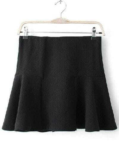Black High Waist Elastic Ruffles Skirt
