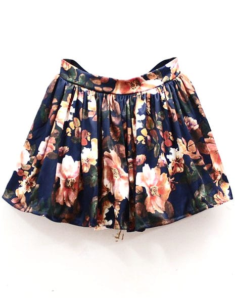 Navy High Waist Floral Pleated Skirt -SheIn(Sheinside)