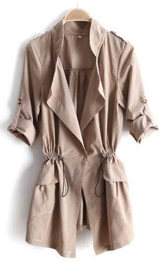 Khaki Drape Collar Pockets Long Sleeve Drawstring Outerwear