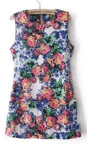 Retro Floral Print Sleeveless Zipper Back Sheath Dress