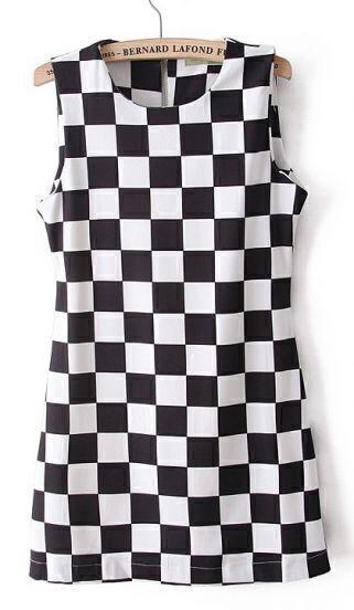 Black and White Check Print Sleeveless Zipper Back Sheath Dress