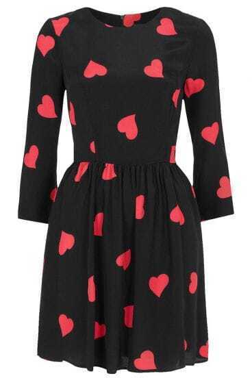 Black Half Sleeve Heart Print Short Dress