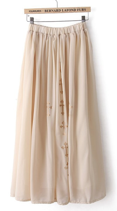 Beige Cross Print Chiffon Long Skirt -SheIn(Sheinside)