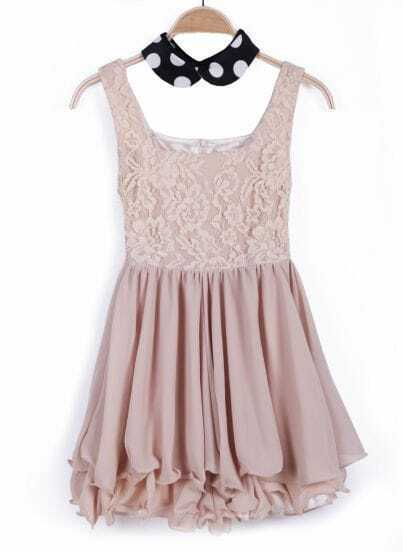 Khaki Polka Dot Collar Lace Ruffles Pleated Dress