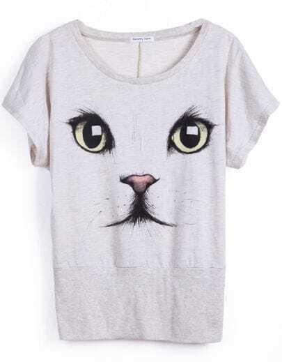 Light Grey Short Sleeve Cat Face Print T-Shirt