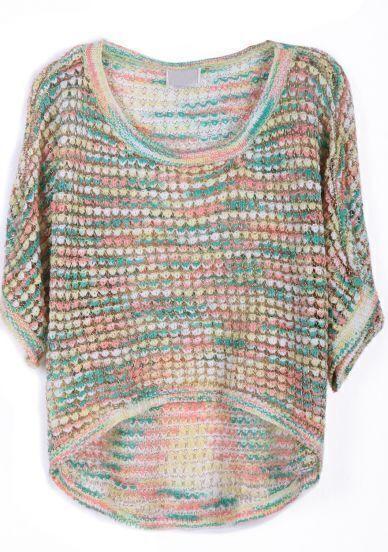 Multi Short Sleeve Metallic Yoke Dipped Hem Sweater