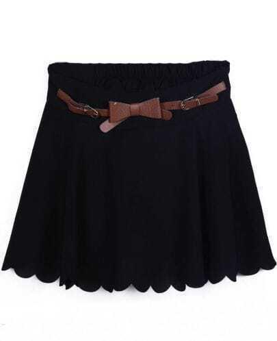 Black Drawstring Waist Ruffles Chiffon Skirt