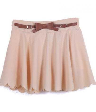 Apricot Drawstring Waist Ruffles Chiffon Skirt