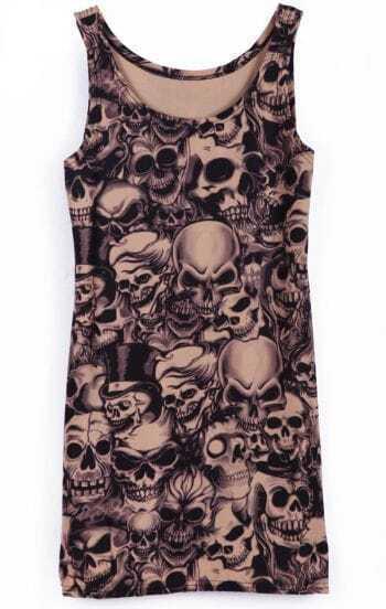 Black Sleeveless Skulls Print Slim Vest