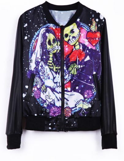 Black Long Sleeve Wedding Skulls Print Jacket