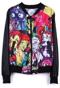 Black Long Sleeve Cartoon Devil Print Jacket