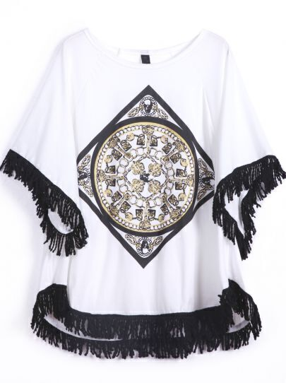 White Short Sleeve Geometric Print Tassel T-Shirt