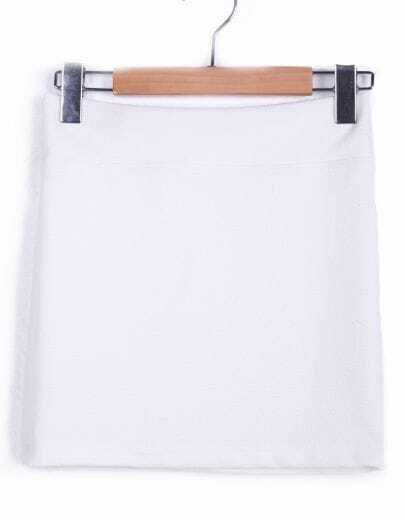 White Bodycon Pencil Mini Skirt -SheIn(Sheinside)