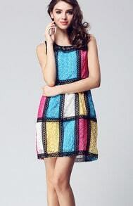 Multi Round Neck Sleeveless Striped Floral Silk Dress