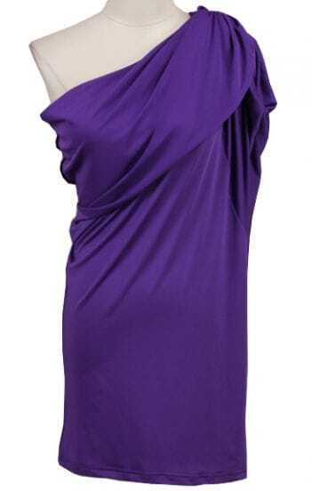 Purple One-Shoulder Sleeveless Bodycon Dress