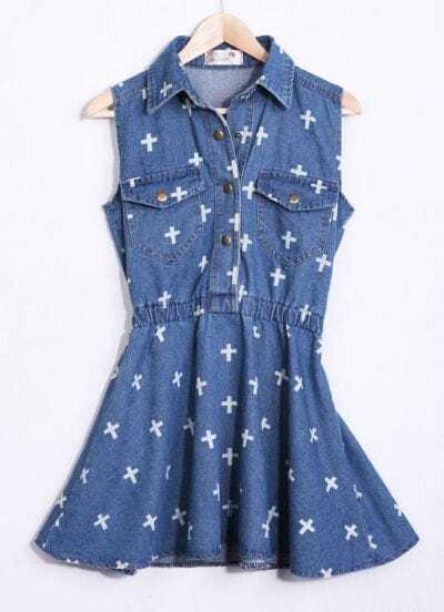 Dark Blue Sleeveless Cross Print Denim Dress