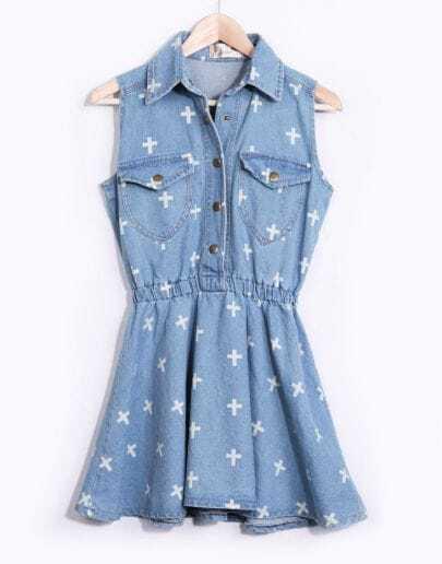 Light Blue Sleeveless Cross Print Denim Dress