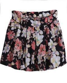 Black Floral Pleated Chiffon Skirt