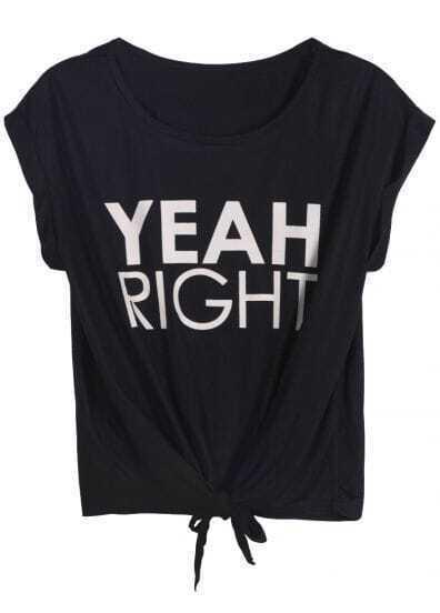Black YEAH RIGHT Print Tie T-Shirt