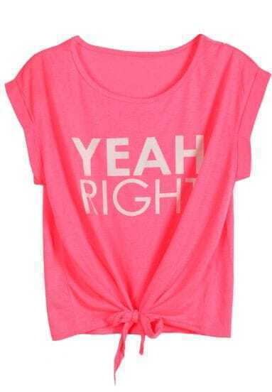 Red YEAH RIGHT Print Tie T-Shirt