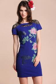 Blue Short Sleeve Insert Lace Sequined Flowers Embroidery  Dress