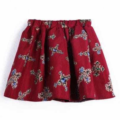 Red Elastic Waist Cross Print Skirt