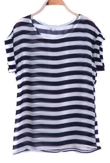 Navy Short Sleeve Striped Chiffon T-Shirt