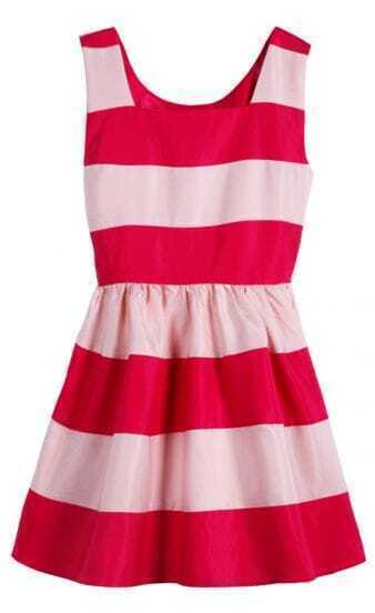 Rose Red Scoop Neck Sleeveless Striped Dress