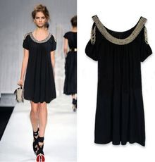 Black Split Sleeve Beaded Gorgeous Dress