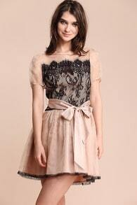 Nude Short Sleeve Sheer Shoulder Lace Belt Dress