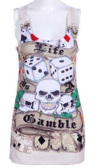 Punk Beige Skull Poker Printed Scoop Neck Vest