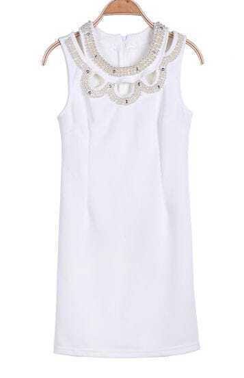 White Sleeveless Pearls Rhinestone Embellished Dress