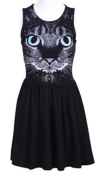 Black Sleeveless Cat Face Print Pleated Dress