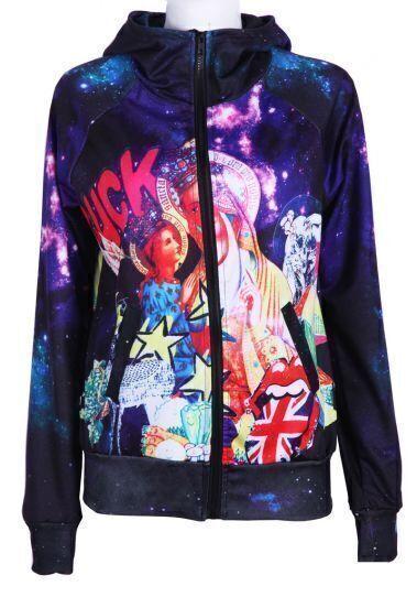 Purple Hooded Galaxy Union Jack Print Jacket