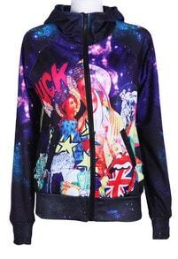 Purple Hooded Galaxy Union Jack Print Jacket