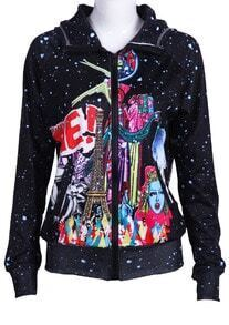 Black Hooded Galaxy Tower Print Jacket