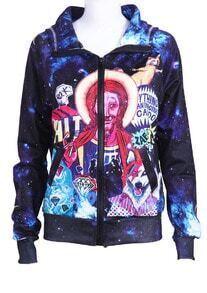 Dark Blue Hooded Galaxy Diamond Print Jacket