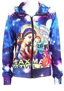 Blue Hooded Galaxy Virgin Mary Print Jacket