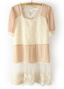 Pink Short Sleeve Contrast Lace Chiffon Dress