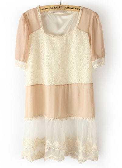 Pink Short Sleeve Contrast Lace Chiffon Dress