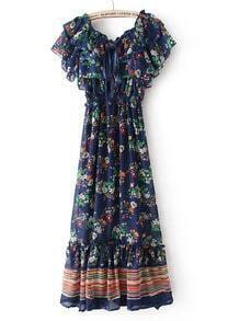 Navy Bandeau Floral Cape Chiffon Dress