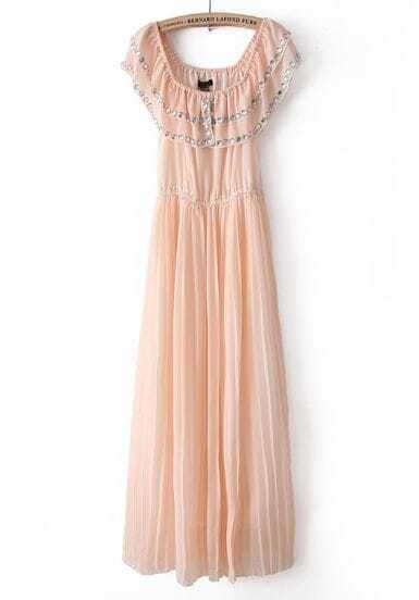 Nude Sleeveless Rhinestone Pleated Chiffon Dress