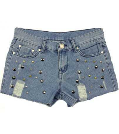 Blue Rivet Ripped Pockets Denim Shorts