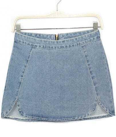 Blue Zipper Split Bodycon Denim Skirt