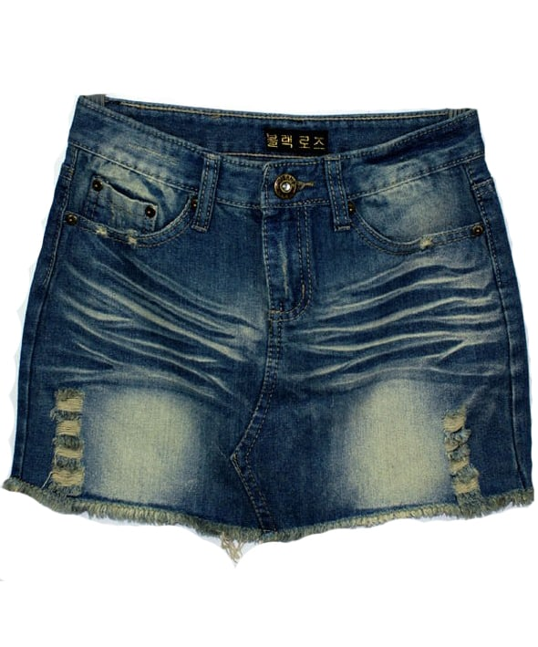 blue bleached ripped pockets denim skirt shein