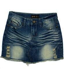 Blue Bleached Ripped Heart Pockets Denim Skirt